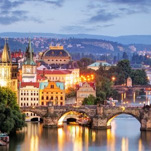 High angle shot of a holiday destination in Prague